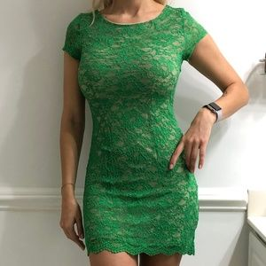 BEBE Green Lace mini Dress